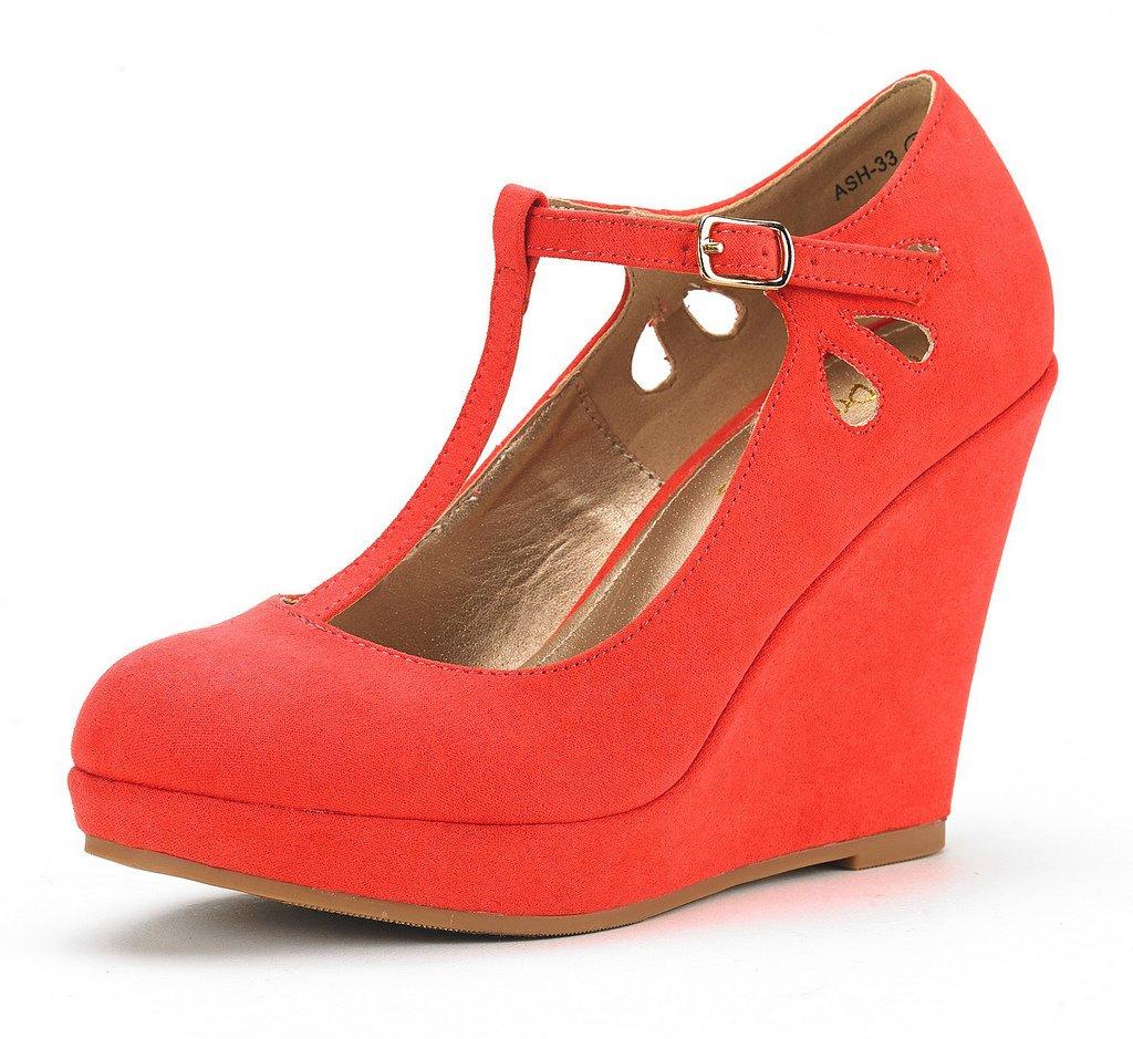 DREAM PAIRS Women's ASH-33 Coral Wedge Heel Platform Pump Shoes - 5.5 M US