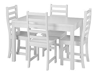 erst holz stilvolle essgruppe mit tisch und 4 stuhle kiefer massivholz waschweiss 90 70