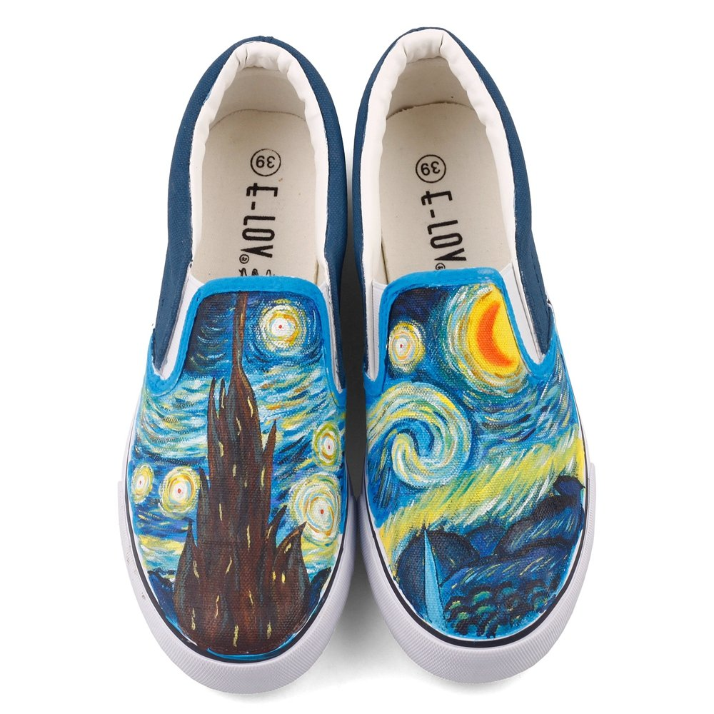 Abstract Oil Painting Starry Night Vincent Gogh Reproduction Artwork Painted Casual Walking Shoes Loafers (10 B(M) US Women/8.5 D(M) US Men #42, White W204C)