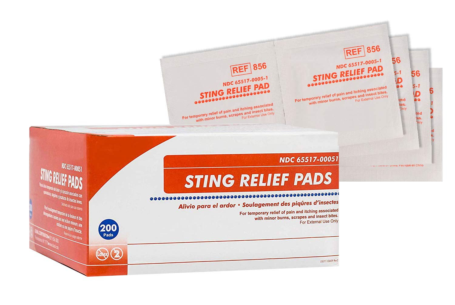 Sting Relief Pads. Case of 200 Anesthetic Pads for Burns, scrapes, Insect Bites. Individual Pouches. 6% Benzocaine, 60% Isopropyl Alcohol. 2-ply Pain Relief Pads. by AMZ Medical Supply