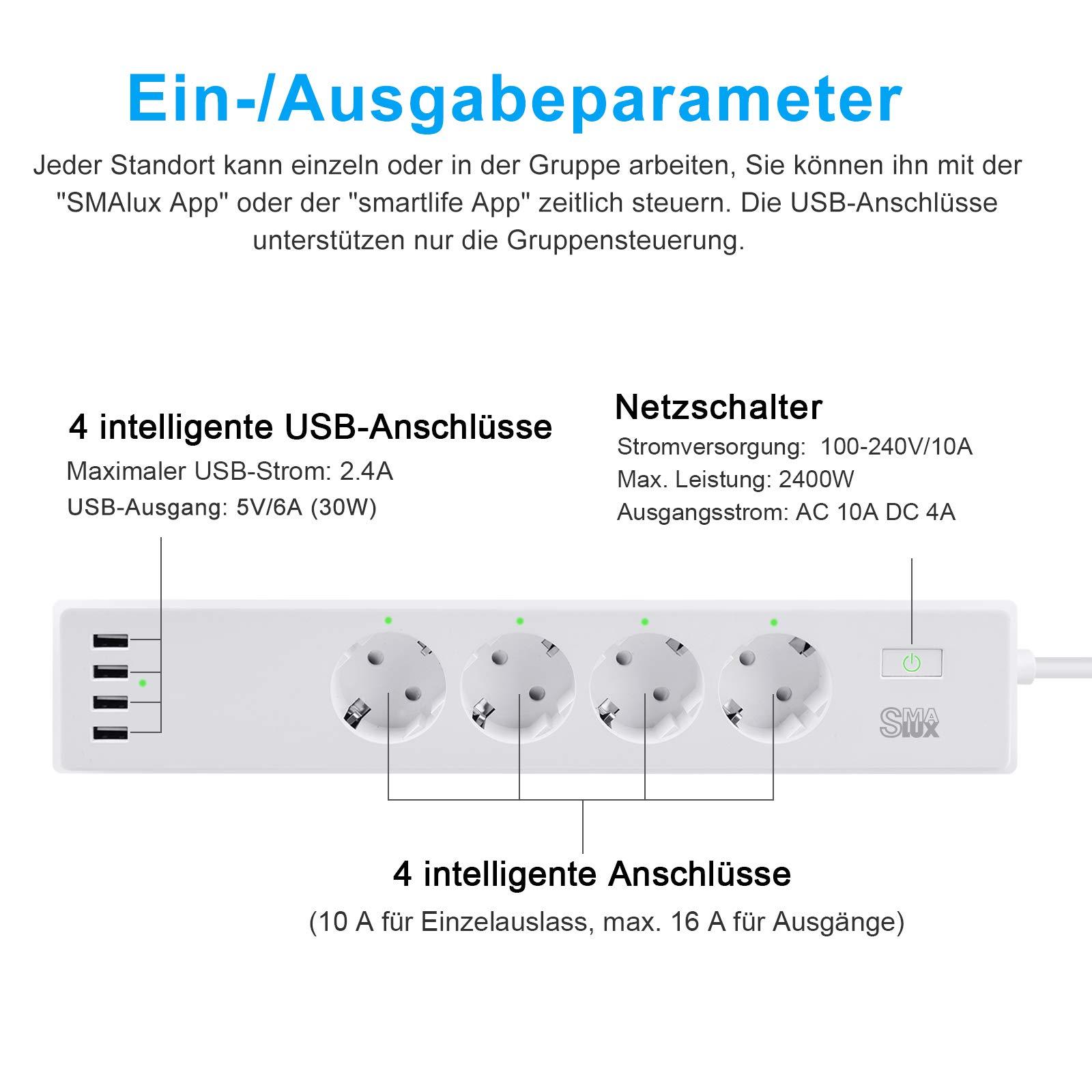 4 fach / 4 USB WLAN Steckdosenleiste Steckerleiste und Steckdose Stecker überspannungsschutz 1,8 m Kabel Funktioniert mit Amazon Alexa (Echo und Echo Dot) Google Home und IFTTT für Sprachsteuerung App Fernsteuerung für iOS Android überall u