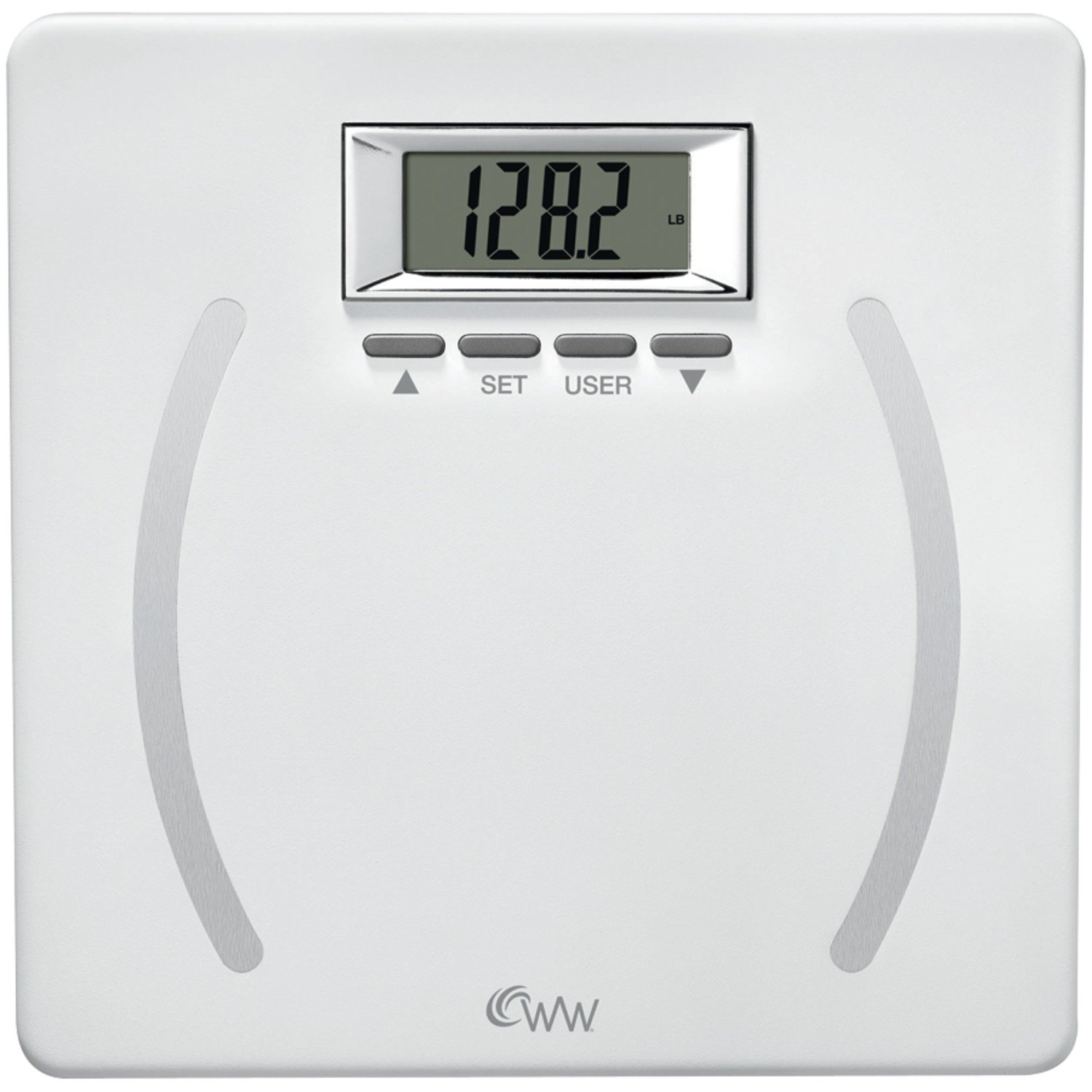 Weight Watchers by Conair Body Analysis Precision Bathroom Scale; Measures Body Fat, Body Water, BMI, Bone Mass; 350 lb. capacity; 4-user Memory Bath Scale; White with Polished Chrome Bezel