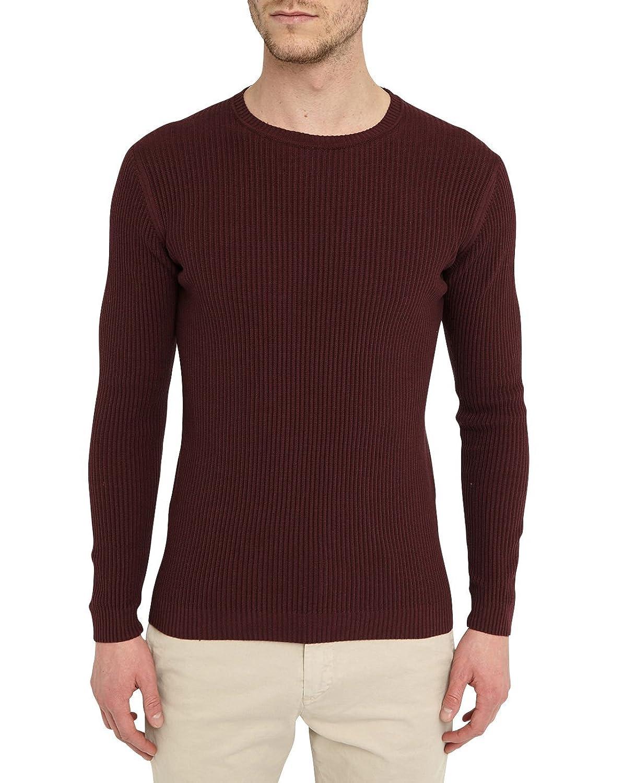 M.STUDIO - Crew-neck Sweaters - Men - Wine-Red Matthis Rib-Knit Round-Neck Sweater for men