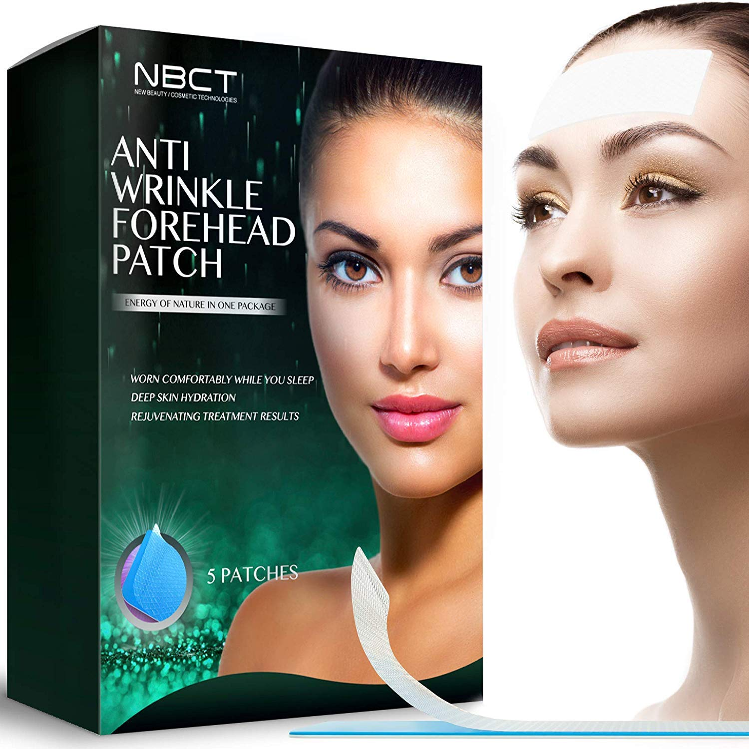 Forehead Anti-Wrinkle Patch | Overnight Smoothing | Lifting & Hydrating Silicone Patches | Antiaging and Antiwrinkle Beauty Mask - 5 strips by NBCT