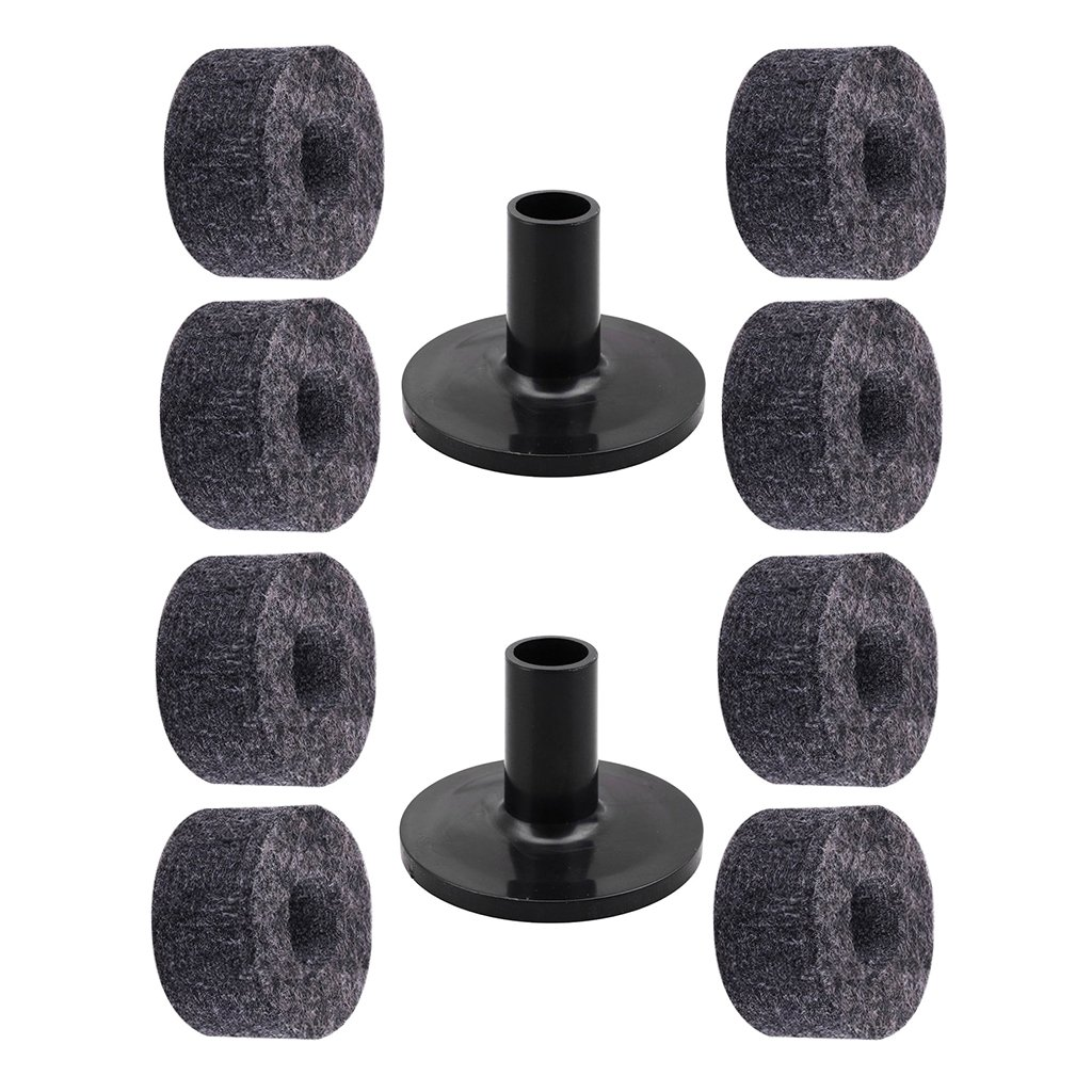 Baoblaze 8Pcs Drum Cymbal Felts + 2Pcs Cymbal Sleeve Percussion Replacement Parts
