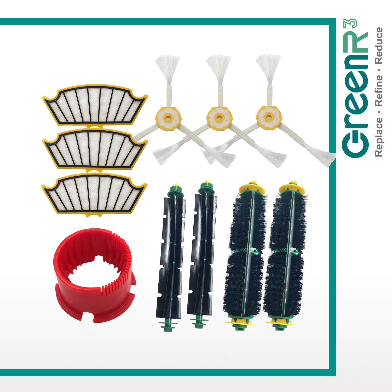 GreenR3 Replacement Parts Tool Pack/Mega Kit for iRobot Fits ROOMBA 500 Series 510 530 535 540 560 570 582 580 562 581 511 531 532 533 536 537 (3 HEPA Filters + 3 Side Brushes + 2 Bristle Brushes) Compatible