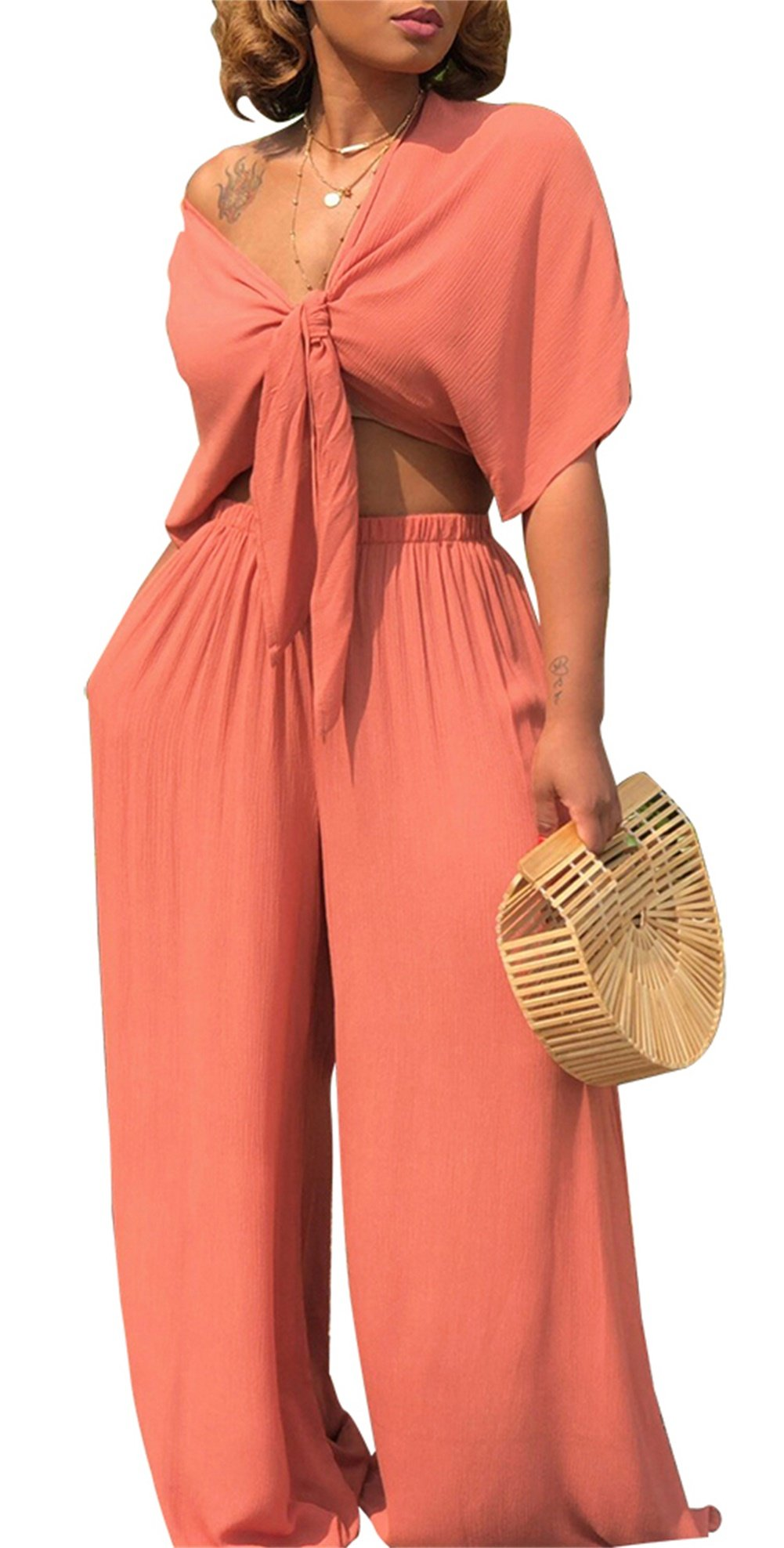 Nrthye Women's Summer Front Tie Tanktop & Wide Leg Long Pants Jumpsuit Solid 2 Piece Outfits