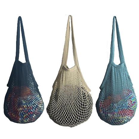 3 bolsas de malla reutilizables, bolsa para la compra, de playa, algodón, bolsa con asa