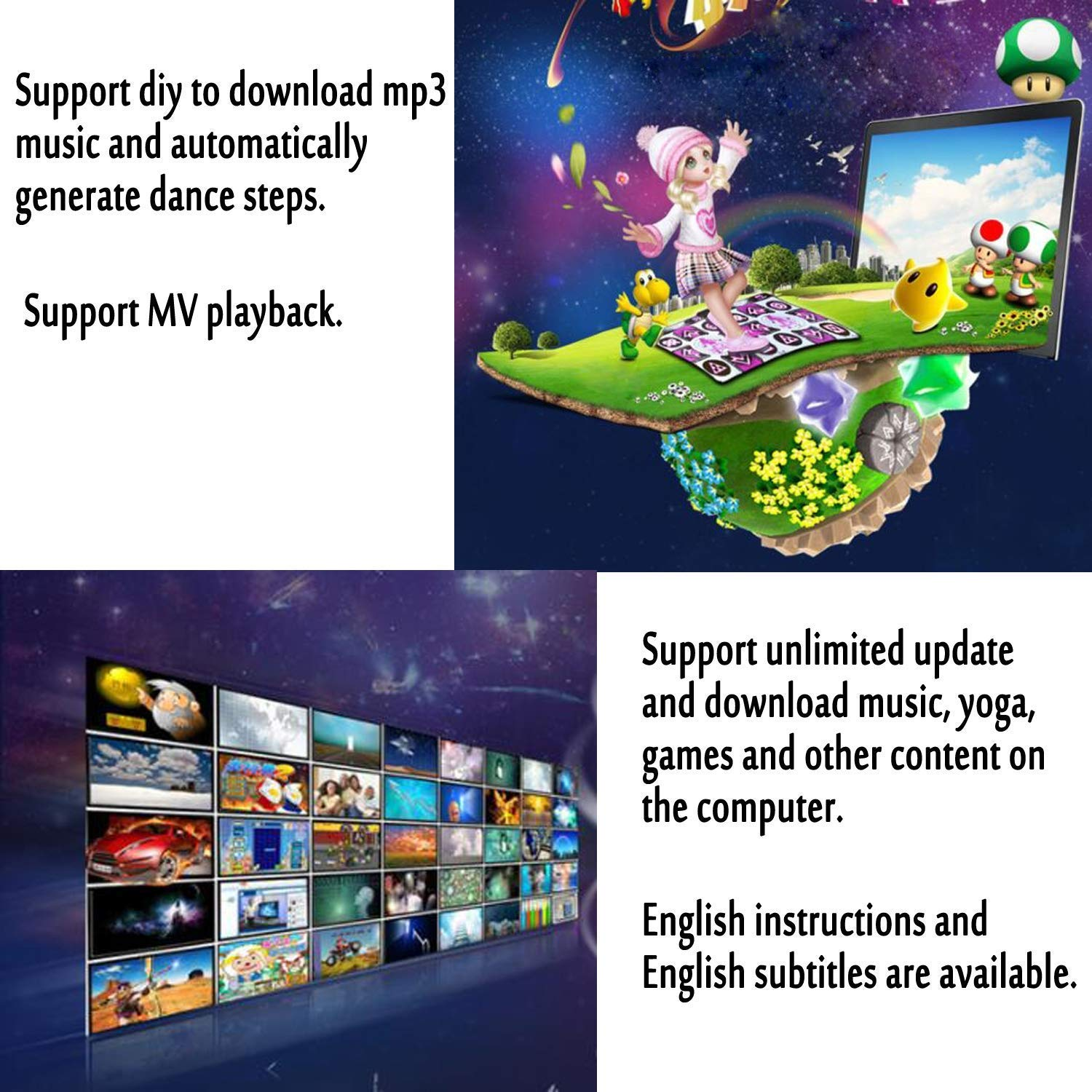 rui @ Double Wireless Dance Game Mat Pad Blanket, Somatosensory Game Console Dance Machine, Suitable For Children And Adults To Connect Tv And Computer Weight Loss Exercise Game Console(English Ver by RUIJING (Image #3)
