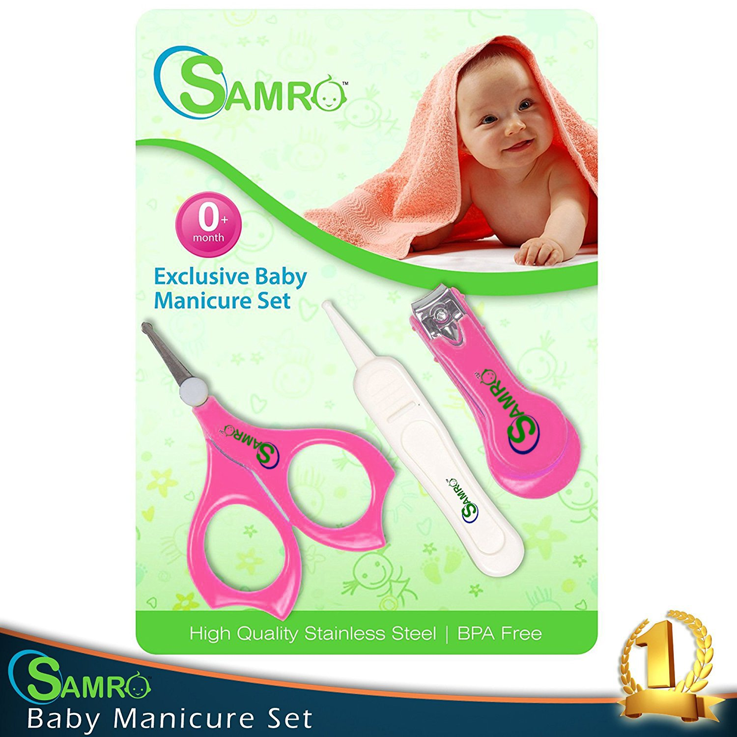 SAMRO Baby Nail Clippers Set with Scissors and Nasal Tweezer in the USA Simple Ergonomic Versatile Unisex Child Toddler Grooming & Healthcare Kit and Shower Gift (Pink)