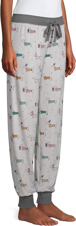 Secret Treasures Dachshund Dogs - Pantalones de chándal para Invierno, Forro Polar, Color Blanco