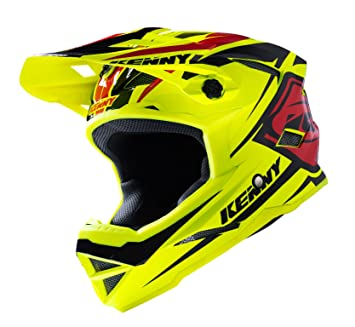 Kenny Scrub Casco Mixto, Color Jaune Fluo/Noir/Rouge, tamaño Medium