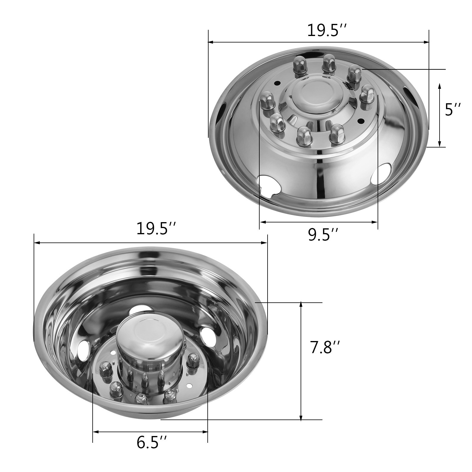 Mophorn 4 PCS of Wheel Simulators 19.5 Inch 10 Lug Hubcap Kit Fit for 2005-2017 Ford F450 - F550 2WD Trunk Polished Stainless Steel Bolt On Dually Wheel Cover Set (19.5'') by Mophorn (Image #2)