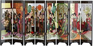 TJ Global 8-Panel Traditional Chinese Art for Home Decoration - Decorative Lacquerware, Home Decor, Lacquer, Oriental, Mini Divider (Ladies)