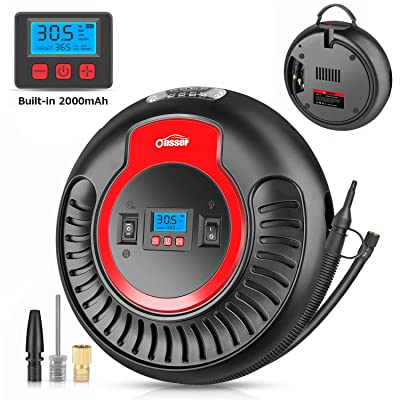 Oasser 2000mAh Air Compressor Electric Portable Pump Tire Inflator Dual-Use AC DC 120PSI Low and High Pressure Air Inflation Blower for Tires Air Mattress Balls Inflatable Toys P3: Automotive