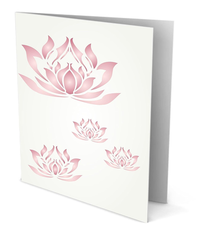Amazon Lotus Flowers Stencil Size 105w X 105h Reusable