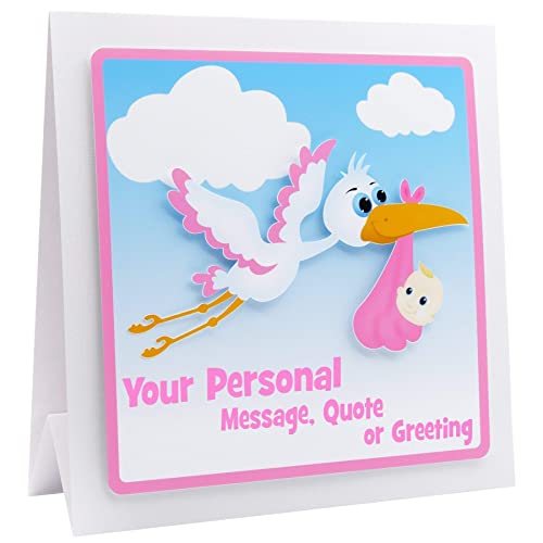 New Baby Girl Card Personalised 3d Stork Pink Blue Choice Of 5