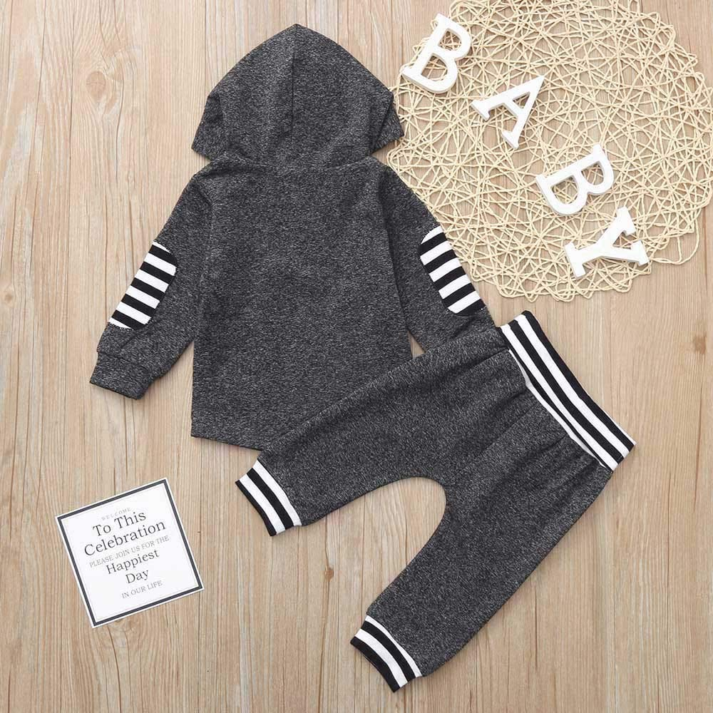 Onefa Infant Toddler Baby Boys Girls Tops Pants Outfits Set Striped Hoodie Pullover
