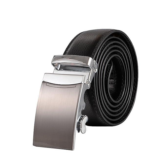 Men's Belt, Utop Solid Buckles with Automatic Slides Ratchet Genuine Leather Belts for Men,Wide 35mm Size Adjustable (Blackstyle10)