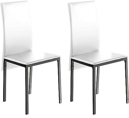 Miroytengo Pack 2 sillas Blanco Saona Elegantes Estilo contemporaneo Polipiel Comedor salón Cocina 97x51x42: Amazon.es: Hogar