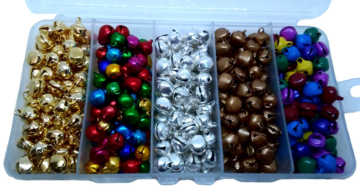 Craft Bells 10mm Jingle 5 Varieties Divided Container with 400 Bells