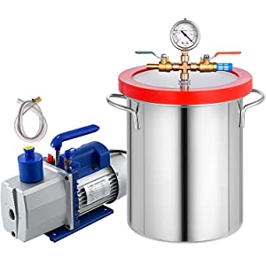 5 Gallon Vacuum Degassing Chamber Kit Stainless Steel Degassing Chamber Kit 18L Vacuum Chamber Kit with 2 Stage 7CFM 1/2 HP Vacuum Pump