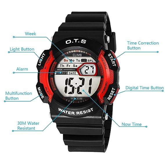 OTS - Reloj Digital Deportivo Impermeable Luminoso de Cuarzo con Alarma Cronómetro para Niños y Estudiantes - Color Rojo: Amazon.es: Relojes