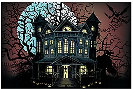 9 foot haunted house halloween wall mural scene setter photo backdrop by brand new
