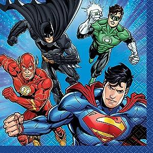 Unique 49961 Justice League Beverage Napkins 10 16 Ct, Multicolor, One Size