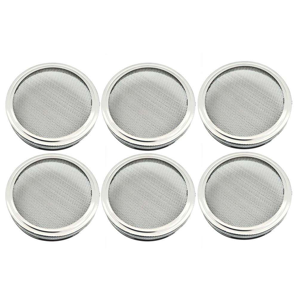 6pcs 86mm Stainless Steel Sprouting Lids for Wide Mouth Mason Jars for Making Organic Sprout Seeds in House and Kitchen