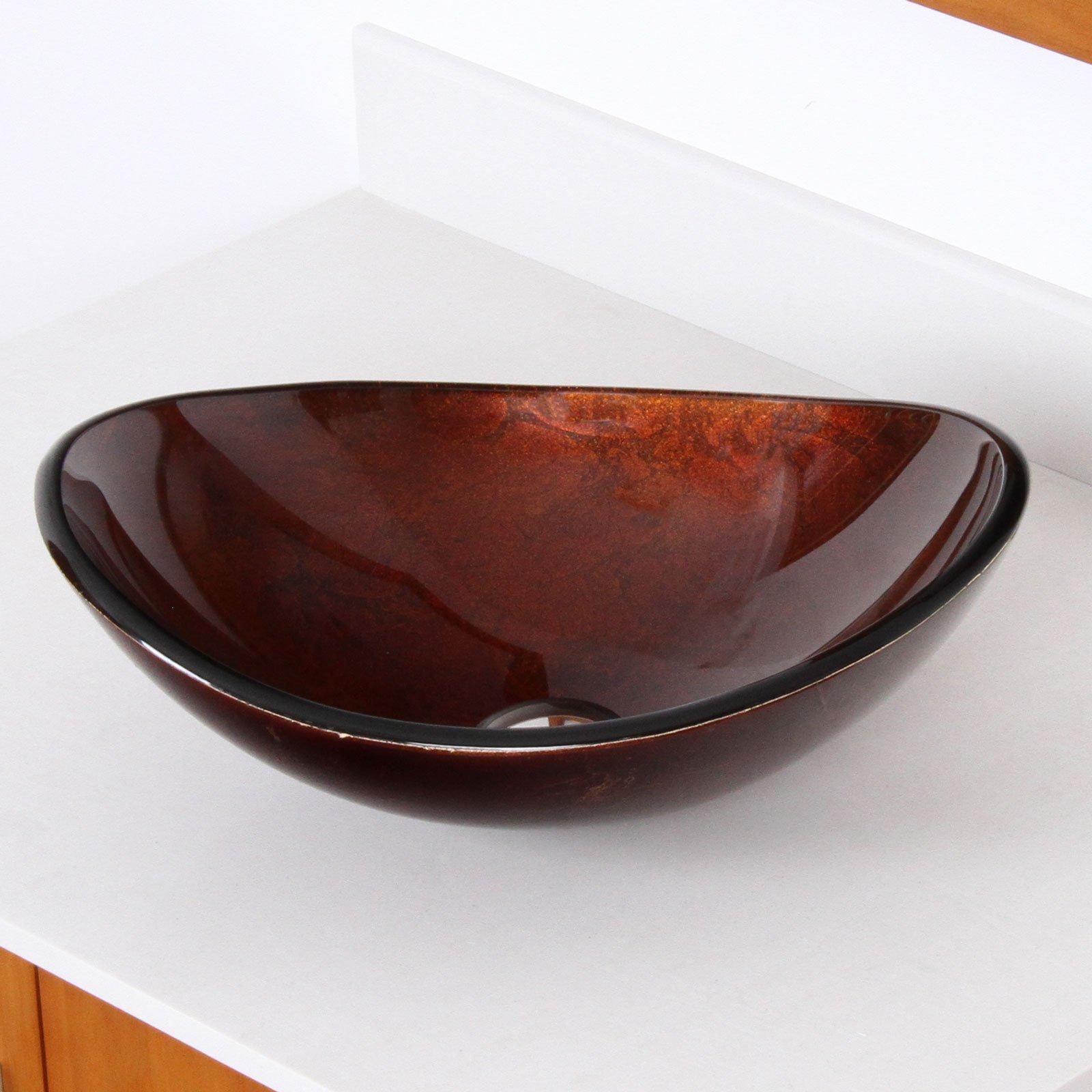Hand Painted Foil Boat Shaped Oval Bowl Bottom Vessel Bathroom Sink Sink Finish: Artistic Bronze
