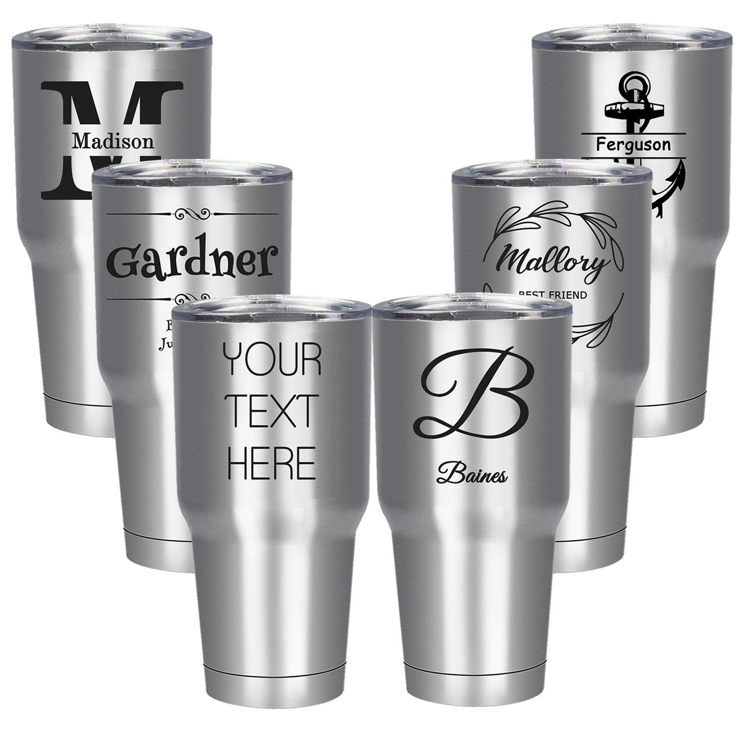 Amlion Personalized Insulated Tumbler Stainless Steel 20 Oz with Lid Custom Mug (Silver, 30oz Mug)