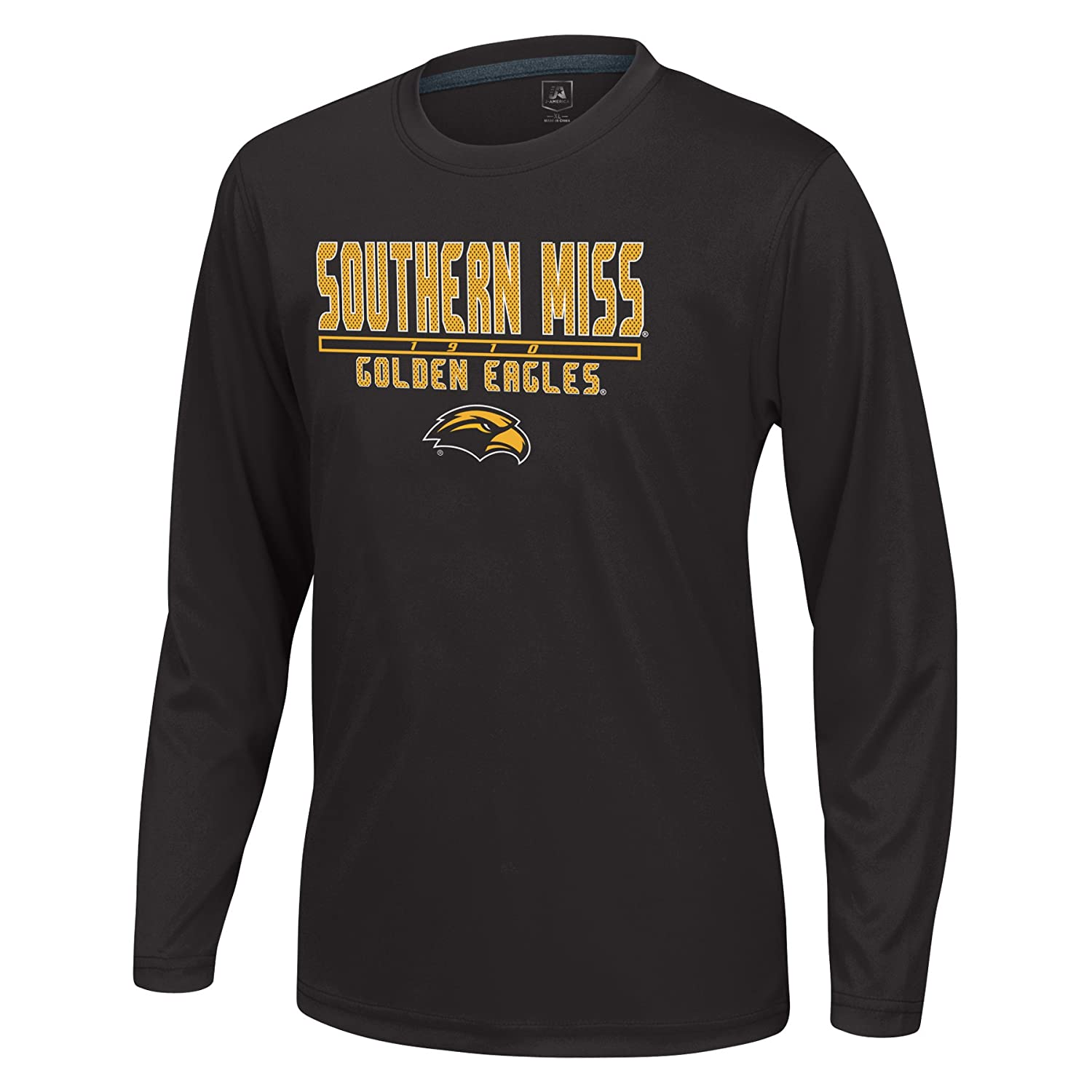 Black J America NCAA Southern Mississippi Golden Eagles Boys Youth School Slogan Long Sleeve Callout Poly Tee X-Large