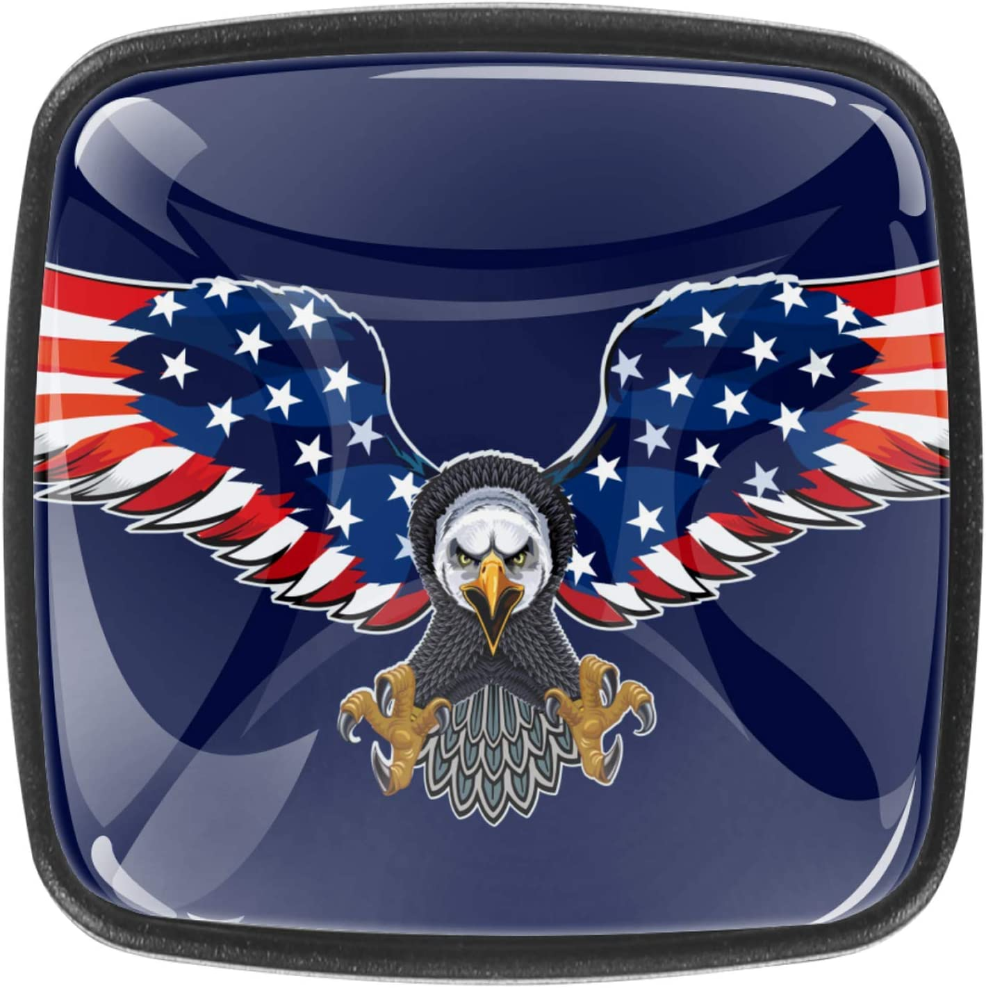 Kitchen Cabinet Knobs - American Eagle with USA Flags (2) - 1.18 Inch Round Drawer Handles - 4 Pack of Kitchen Cabinet Hardware