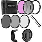 Neewer 52MM Camera Lens Filter Accessory Kit:UV/CPL/FLD/ND2/ND4/ND8 Filters + Tulip Lens Hood + Lens Cap with Keeper Leash + Filter Pouch