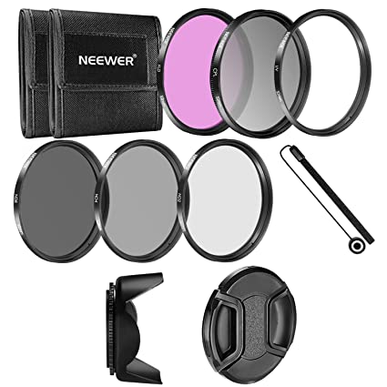 Neewer 52MM Camera Lens Filter Accessory Kit: 52MM  Filters(UV/CPL/FLD/ND2/ND4/ND8) + Tulip Lens Hood + Center Pinch Lens Cap +  Cap Keeper Leash +