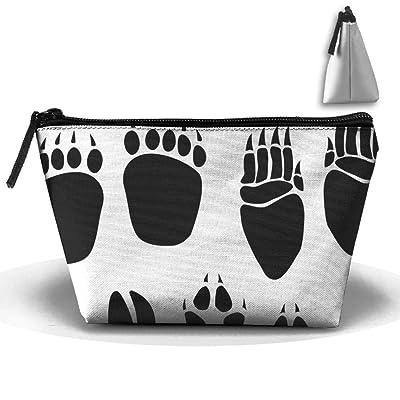 Black Footprints Personality Portable Women Trapezoid Travel Bag Cosmetic Bag Receive Bag