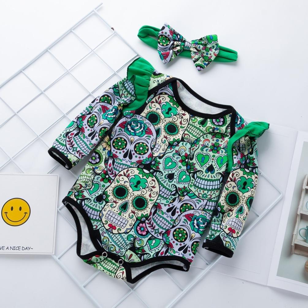 f066456aa6c Amazon.com  GoodLock Baby Girls Fashion Clothes Set Newborn Long Sleeve  Halloween Cartoon Skull Romper Jumpsuit Headbands Outfits 2Pcs  Clothing