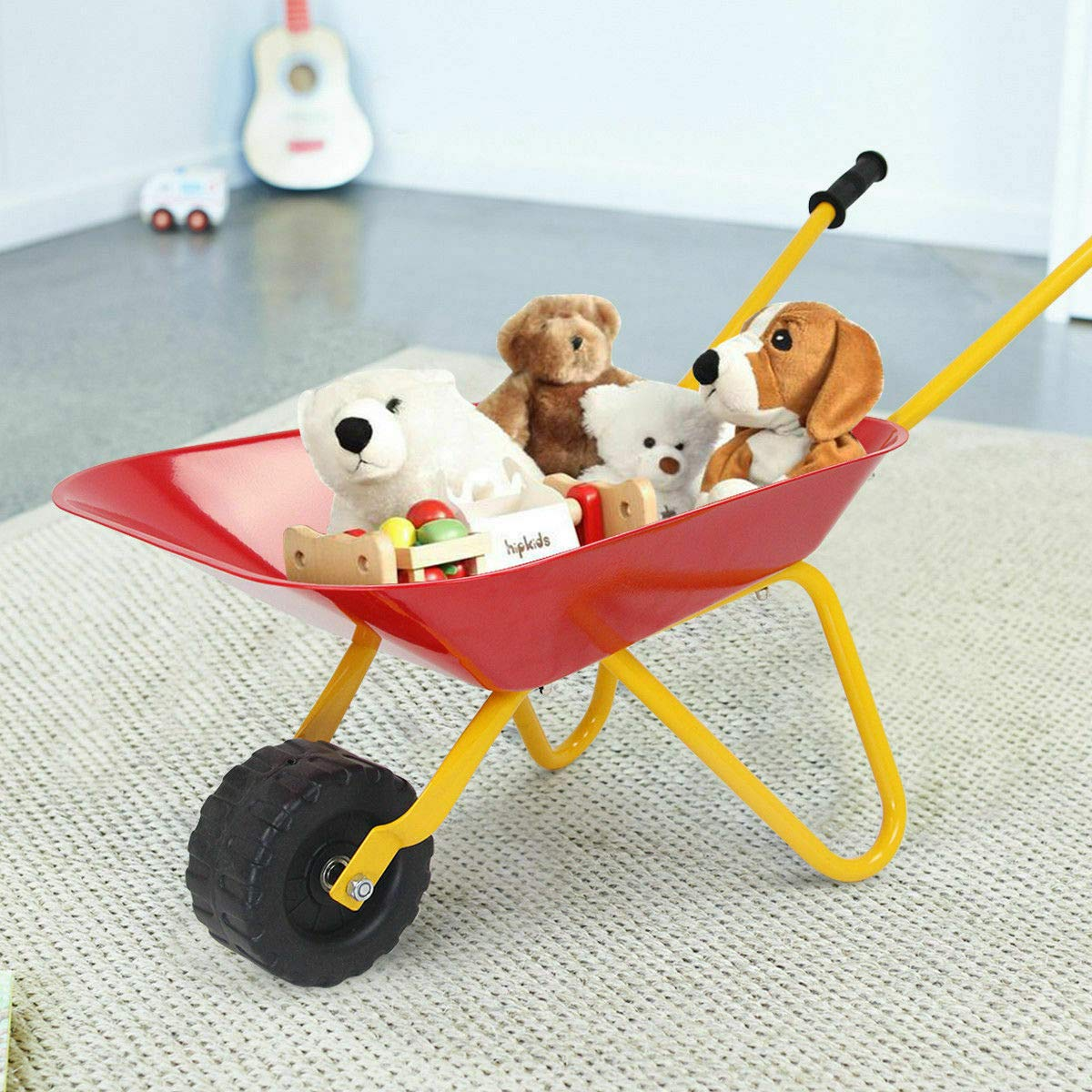 Heize best price Red Kids Metal Wheelbarrow Children's Size Outdoor Garden Backyard Play Toy by Heize best price (Image #3)