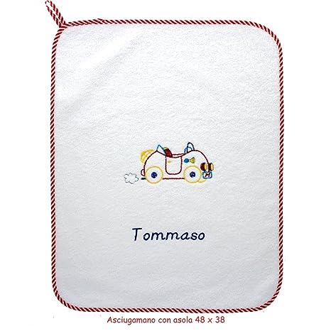 "coccole- toalla con Asola Scuola Materna y asilo nido – ""máquina roja"