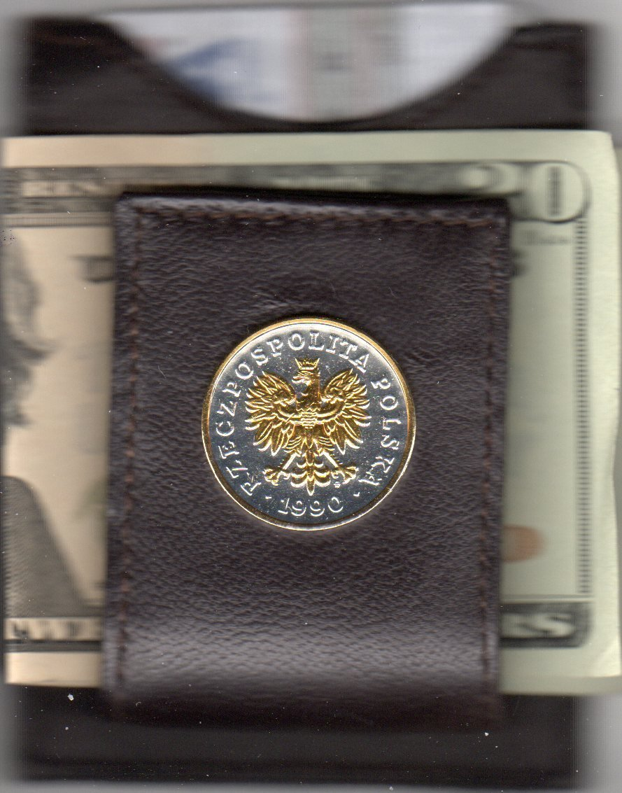 Polish 5 zlotych Eagle 2-Toned Gold on Silver Folding Money clip