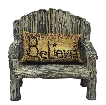 Astonishing Miniature Fairy Garden Bench W Believe Pillow 2 Piece Set Ibusinesslaw Wood Chair Design Ideas Ibusinesslaworg