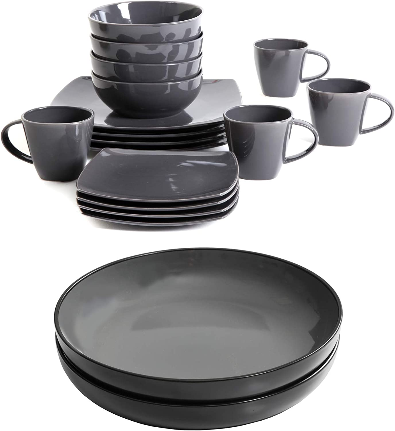 A.T. Products Corp. Soho Lounge 16 Piece Square Dinnerware Set, Gray bundle with Soho Lounge 2 Piece Dinner Bowls Set, Gray
