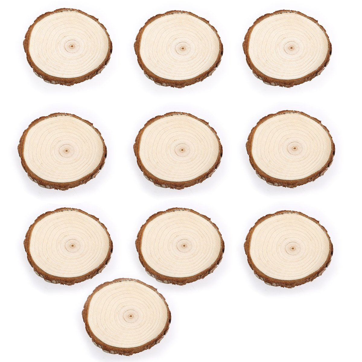 COCO Unpainted Natural Round Blank Wood Slices with Tree Bark Log Discs for DIY Craft Woodburning Christmas Rustic Wedding Ornaments 7-9cm/3''-3.5'' (Pack of 10 pcs)