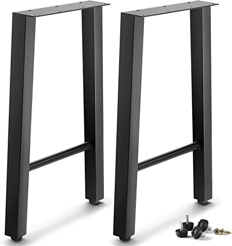 CRIZTA Set of 2 Metal Table Legs 28 inch Height 20 Wide Trapezoid