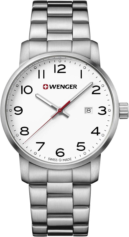 Wenger Hombre Avenue - Reloj de Acero Inoxidable de Cuarzo analógico de fabricación Suiza 01.1641.104