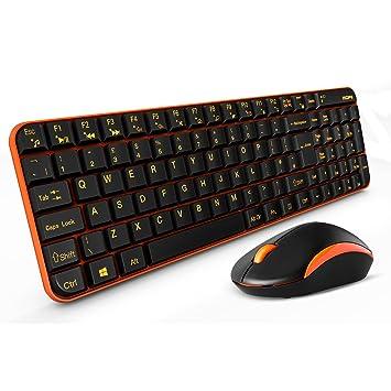 MOFII - Conjunto de ratón y teclado inalámbrico 2,4 GHz con teclado silencioso para PC, Mac, teclas del Reino Unido, color negro y naranja: Amazon.es: ...
