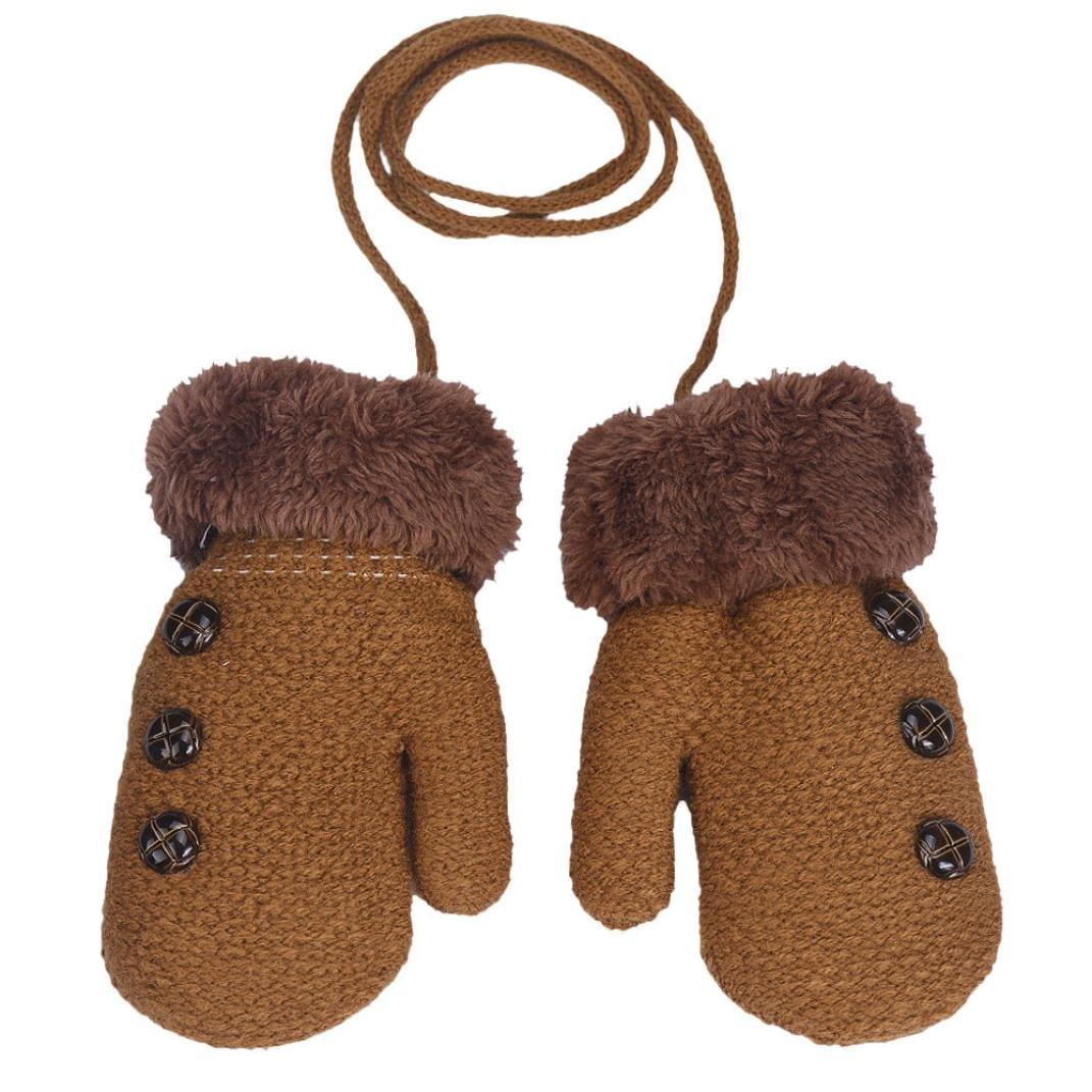 Boys Gloves, SHOBDW 1 Pairs Baby Girls Fashion Button Leaf Full Finger Keep Warm Kids Glove With Ropes Beige) SHOBDW-51