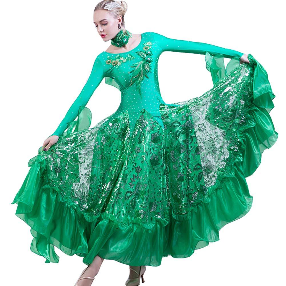 12e39a217d769 社交ダンス ワンピース キラキラスパンコール 社交ダンス 衣装 モダンドレス ラテン衣装 大きい裾 社交ダンス