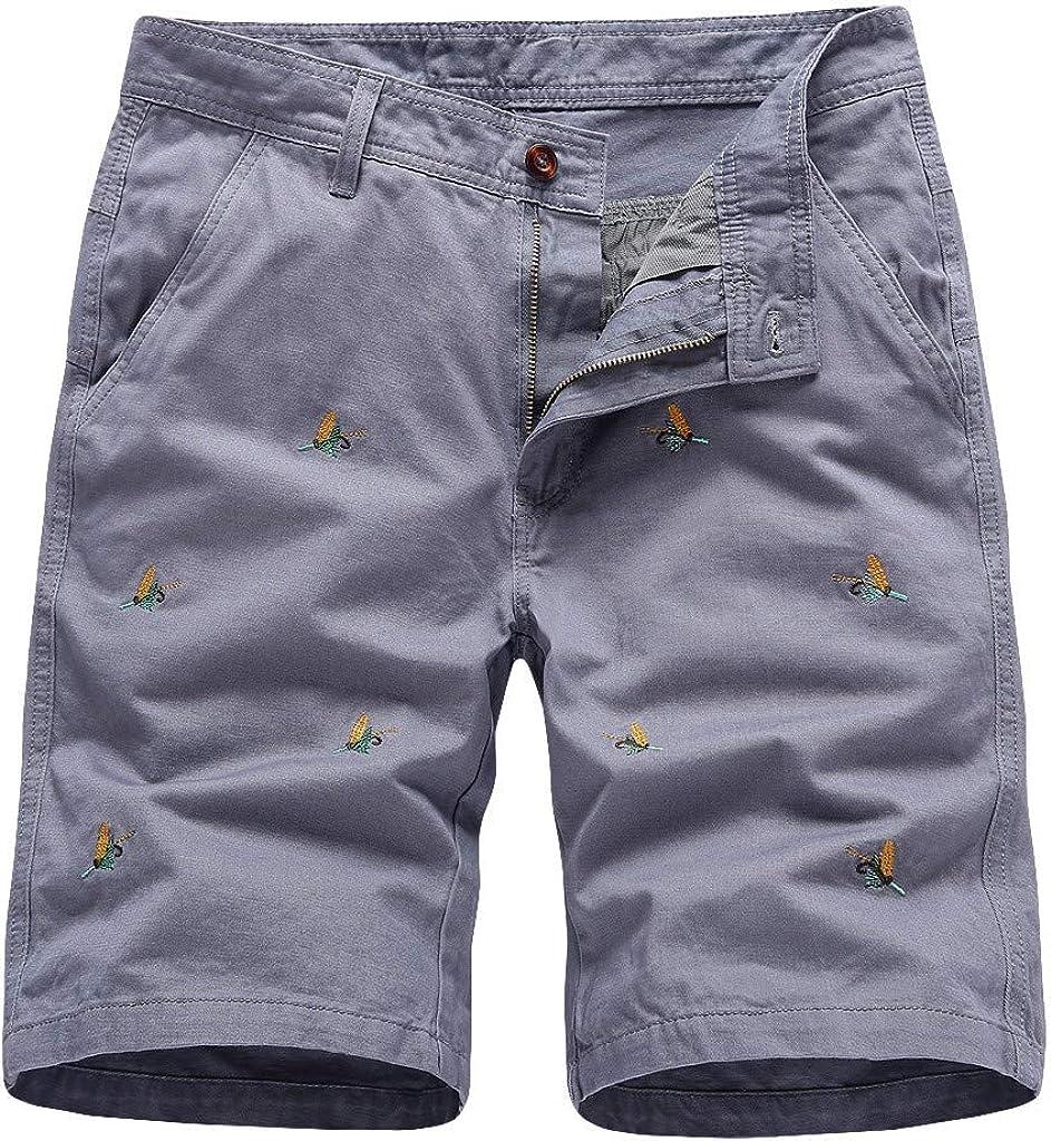 MODOQO Cargo Shorts for Men,Fashion Embroidery Print Big Tall Overalls Shorts
